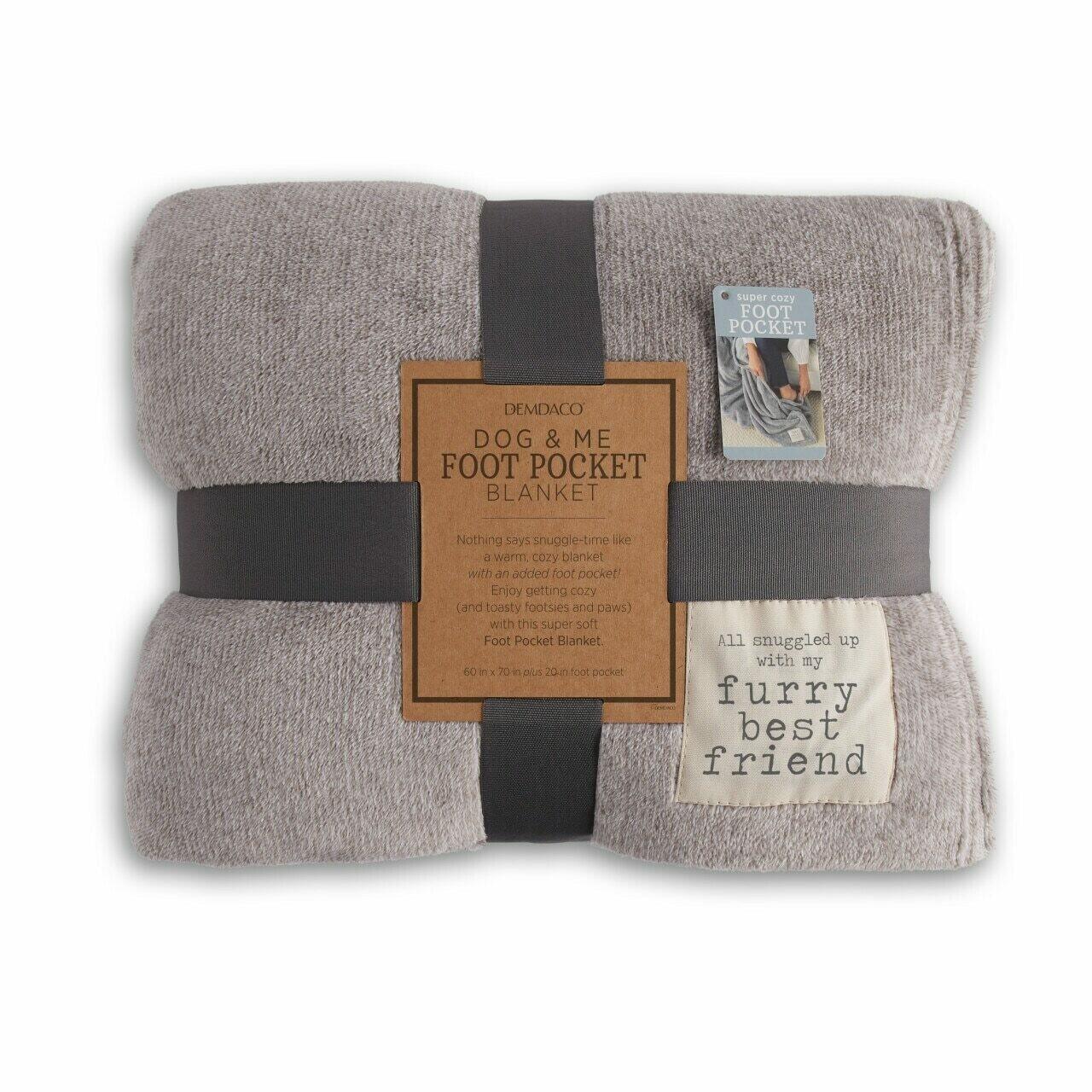 Demdaco Dog & Me Foot Pocket Blanket TAUPE