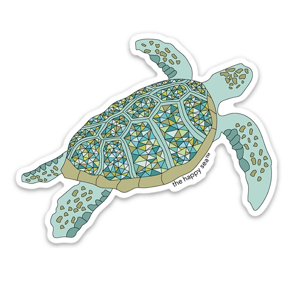 """The Happy Sea 4"""" Protect What You Love Turtle Sticker"""
