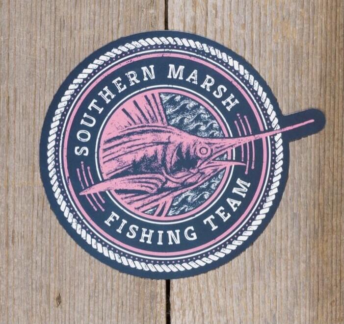 Southern Marsh Fishing Team Sticker NAVY/PINK