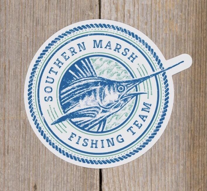 Southern Marsh Fishing Team Sticker WHITE/LT BLUE