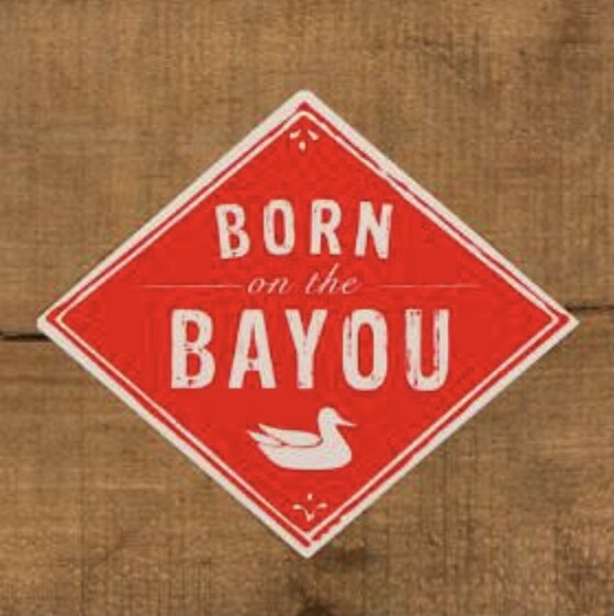 Southern Marsh Born On The Bayou Sticker RED/WHITE