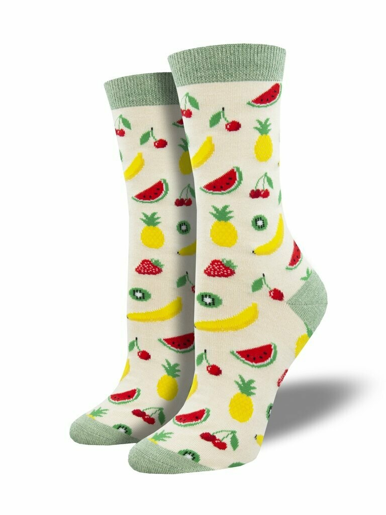 Socksmith W Bamboo Let's Get Fruity HEATHER IVORY