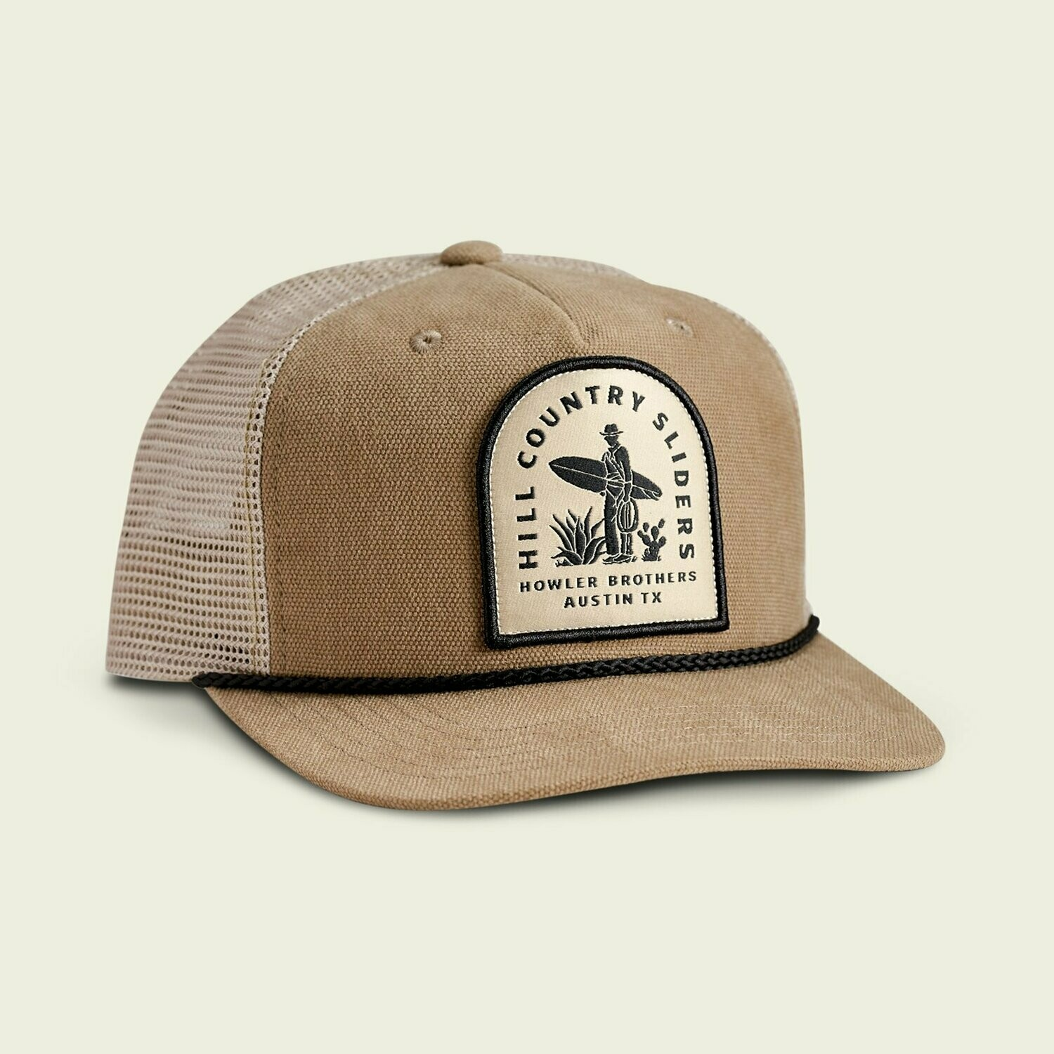 Howler Bros Structured SnapBack Trucker Hat Hill Country Sliders TAUPE