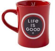 Life is good Diner Mug LIG COin FADED RED