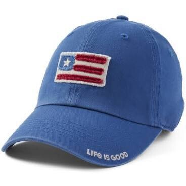 Life is good Chill Cap Tattered American Flag VINTAGE BLUE