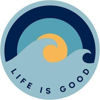 Life is good Magnet Wave Sunrise Circle BLUE