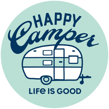 Life is good Sticker: Happy Camper Circle