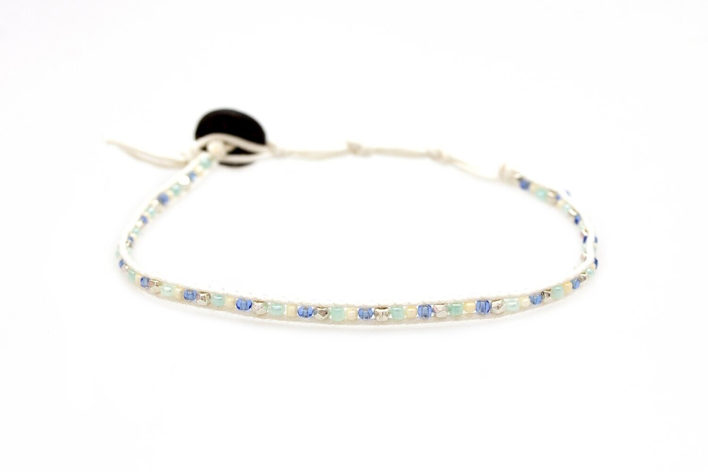 Lotus & Luna Seed Bead Anklet: PEARLY WAVES