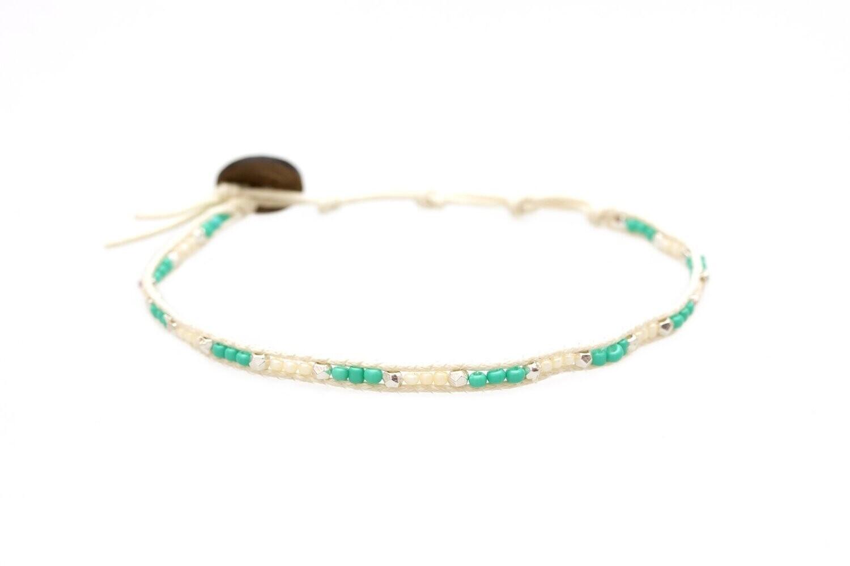 Lotus & Luna Seed Bead Anklet: MARINE MAGIC
