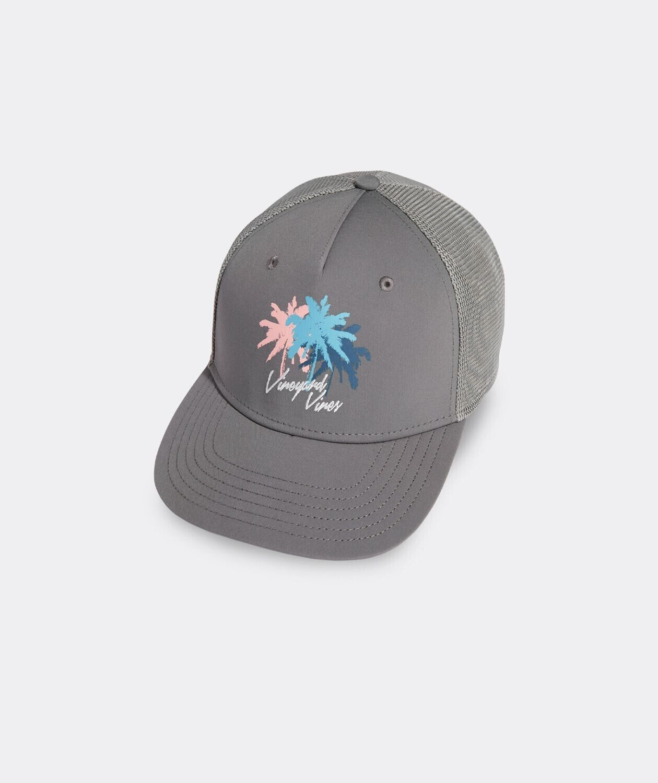 Vineyard Vines Palms Logo Performance Trucker Hat  GRAY HARBOR