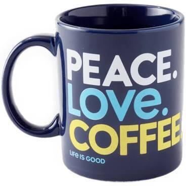 Life is good Diner Jake's Mug Peace Love Coffee DARKEST BLUE