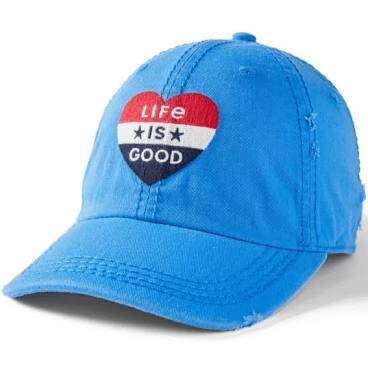 Life is good Chill Cap Sunwashed Americana Heart ROYAL BLUE