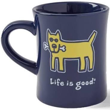 Life is good Diner Mug Vintage Rocket DARKEST BLUE