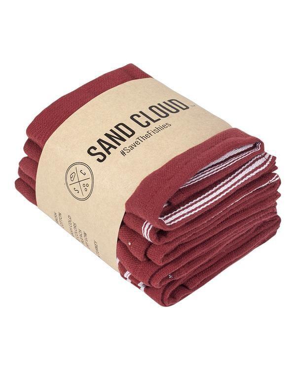 Sand Cloud Classic Bath Bundle 4 Pack BURGUNDY