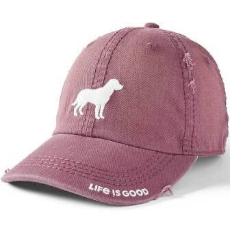 Life is Good Chill Cap Sunwashed Dog Silhouette MAHOGANY BRWN
