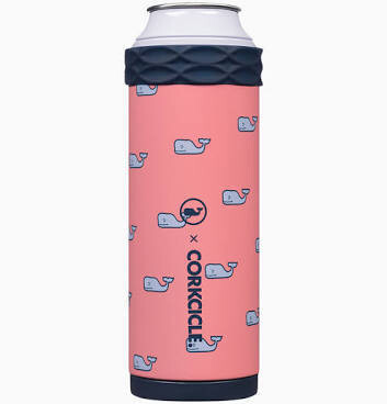 Corkcicle 12oz Slim Can Artican VV WHALES REPEAT PINK