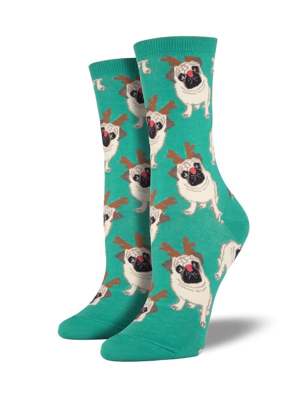 Socksmith W Christmas Antler Pug GREEN