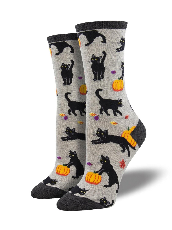 Socksmith W Black Cat Halloween LIGHT HEATHER GRY