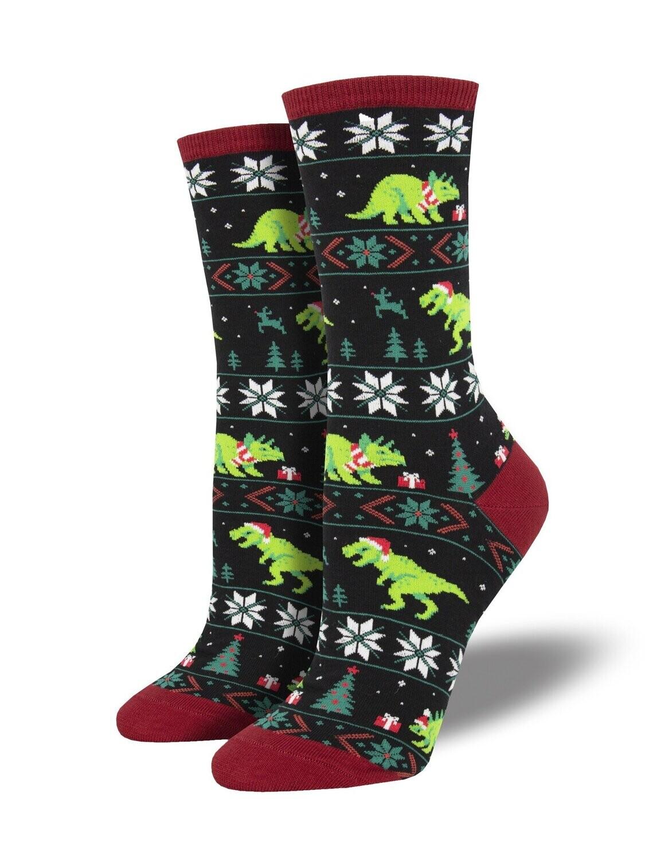 Socksmith W Christmas Santasaurus Rex BLACK