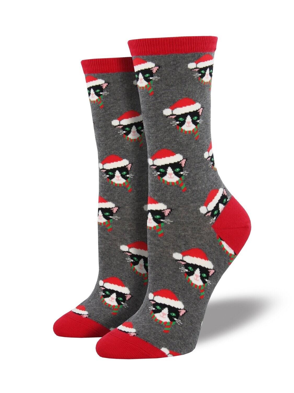 Socksmith W Christmas Santa Cats HEATHER GREY