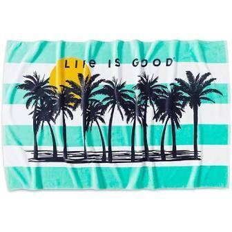 Life is good Palm Tree Beach Towel BERMUDA BLUE