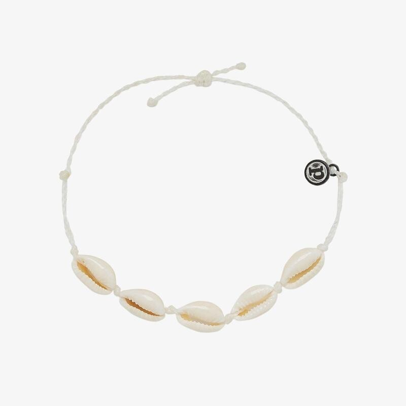 Pura Vida Knotted Cowries Anklet WHITE