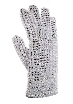 Professional • High Quality • Hand Made • Fully Covered • Rhine Stone Glove (Left Hand - One Size - Stretch)