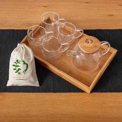FeStevia Tea Pot + 4 Glasses + Daily Series (21 tea bags)