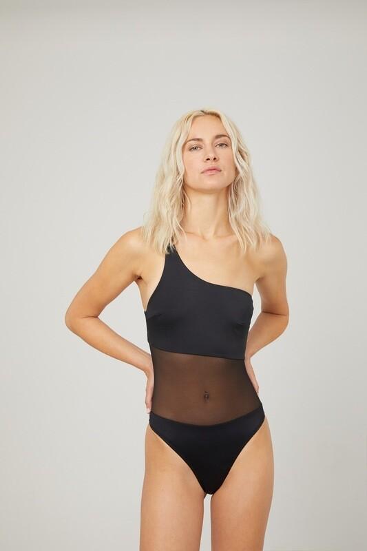 PULSE One-Shoulder Mesh-Paneled Swimsuit