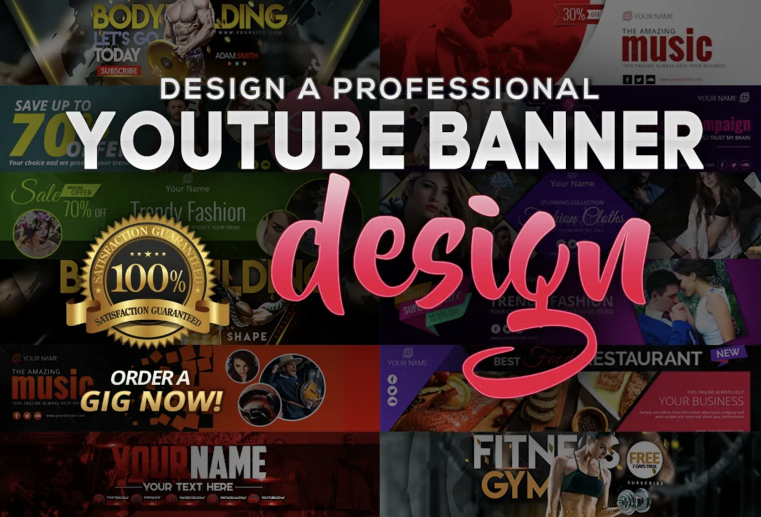 Professional Youtube banner for your channel (eye-catching)