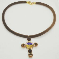 Collar Swarovski Topaz Cross