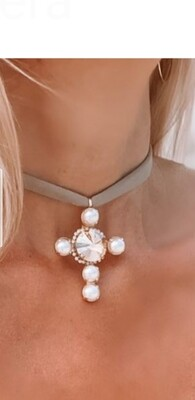 Collar Cross & Pearl brown