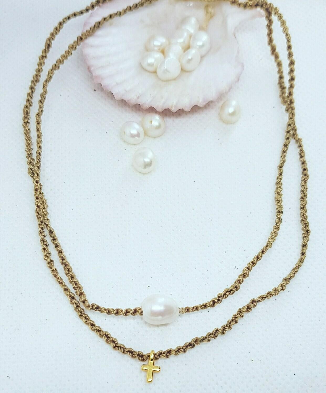 Collar Pearls & cross
