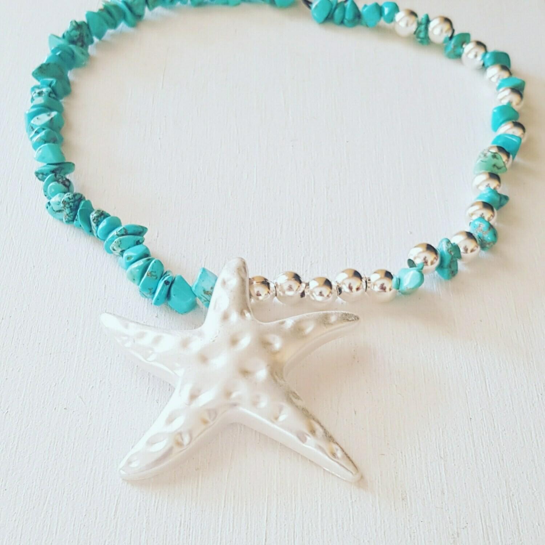 Collar Silver star blue