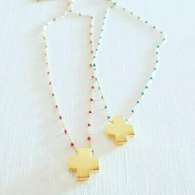 Collar mini cross gold
