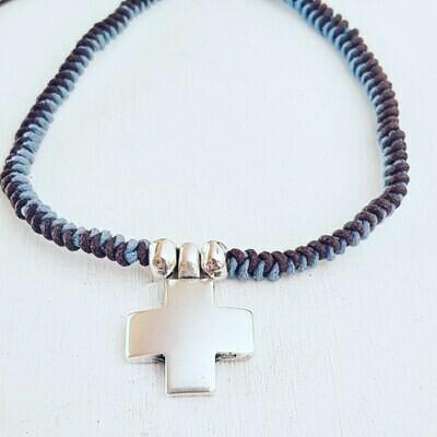 Collar Cross silver snake
