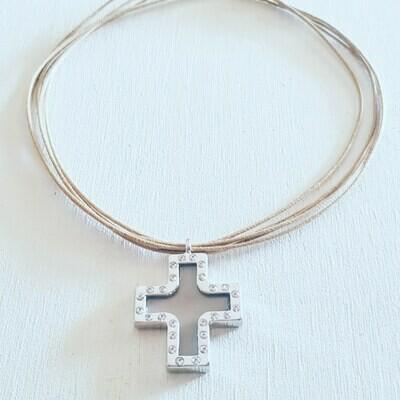 Collar cruz silver strass