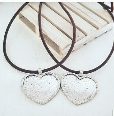 Collar Corazon silver strass