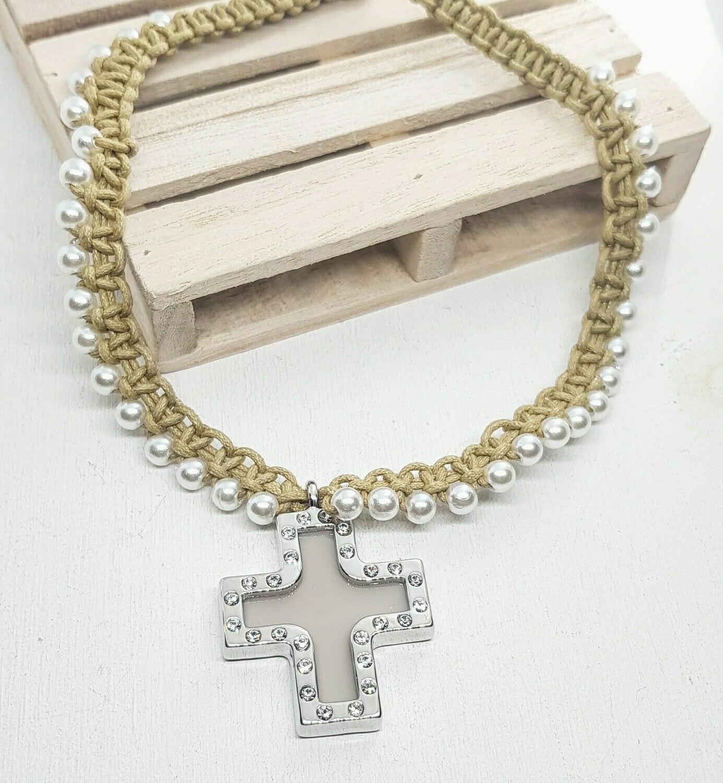 Collar cruz silver strass y perlas