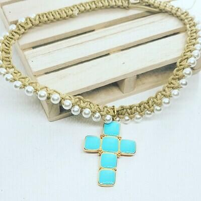 Collar cross blue y perlas