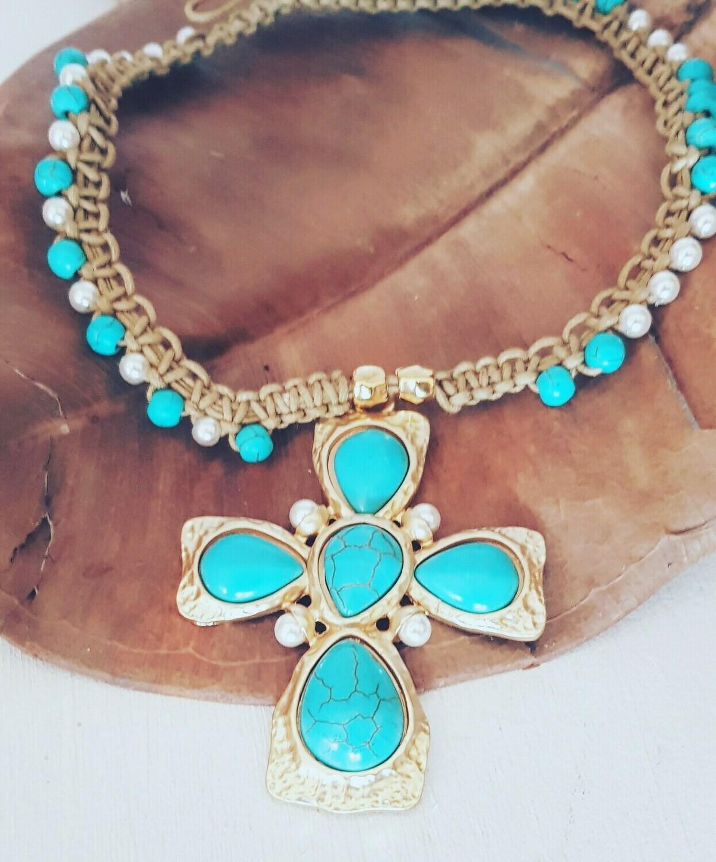Collae maxi cross blue y perlas