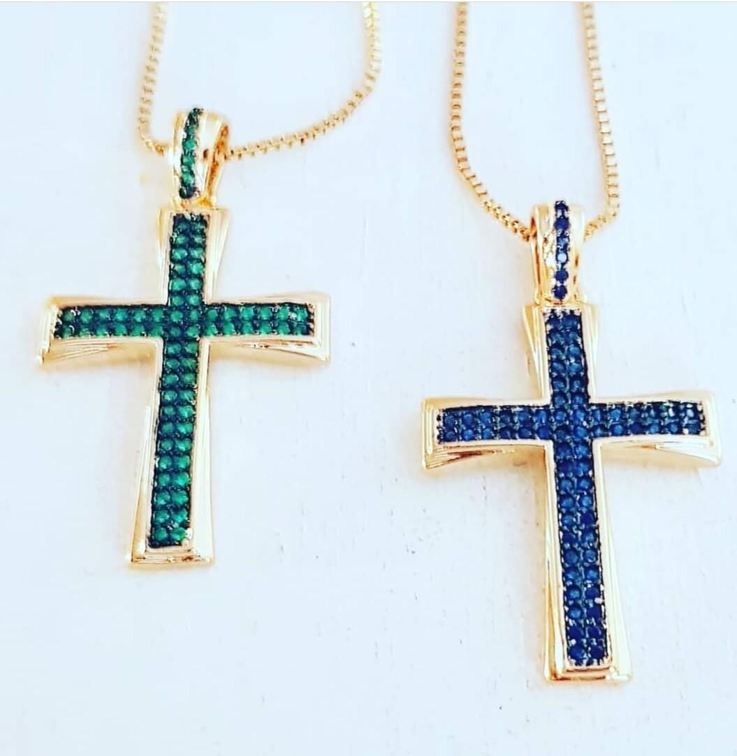 Collar cross green/blue