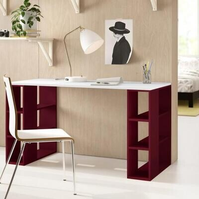 Desk office with side shelves - white and red