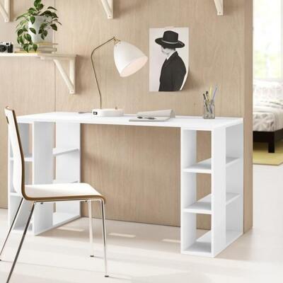 Modern Desk office with side shelves - white