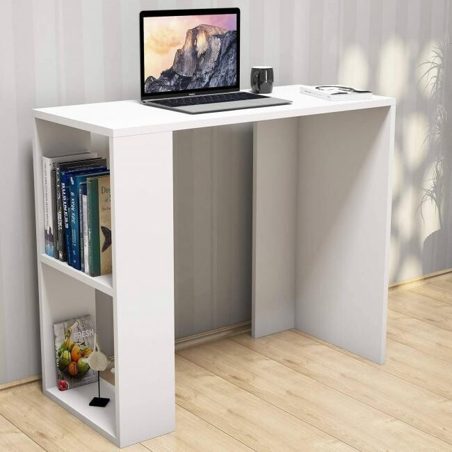 Study Desk office with side shelves - white
