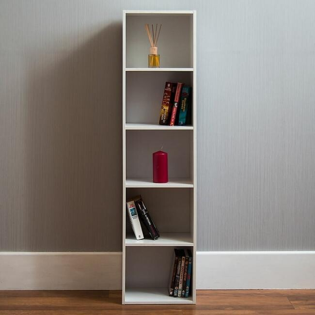 Books and accessories unit with shelves - White