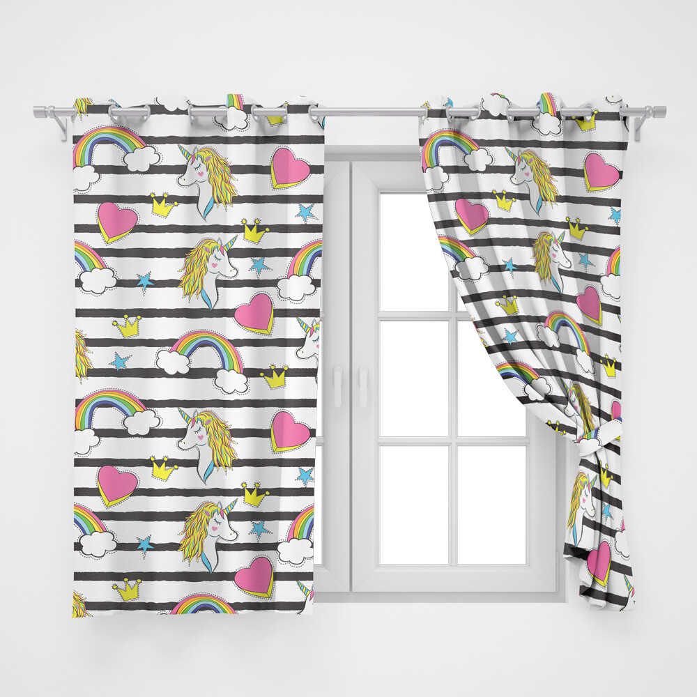 Home2go Kids Unicorn Double Curtain - 290*260 cm