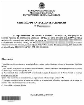 Casier Judiciaire Brésil