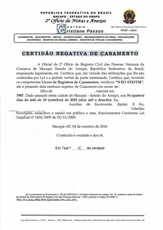 Certificat de célibat Brésil