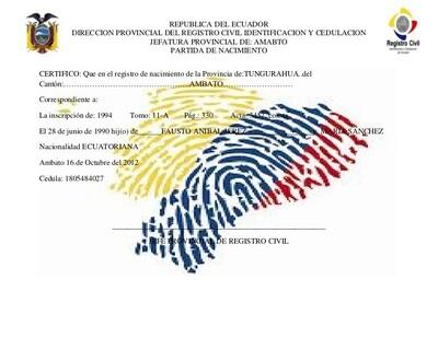 Acte de Naissance Equateur